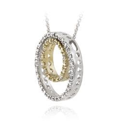 DB Designs Gold over Silver 1/8ct TDW Diamond Double Circle Necklace (J, I3)