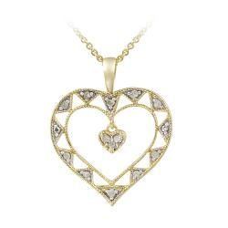 DB Designs 18k Gold over Silver 1/8ct TDW Diamond Open Heart Necklace (J, I3)