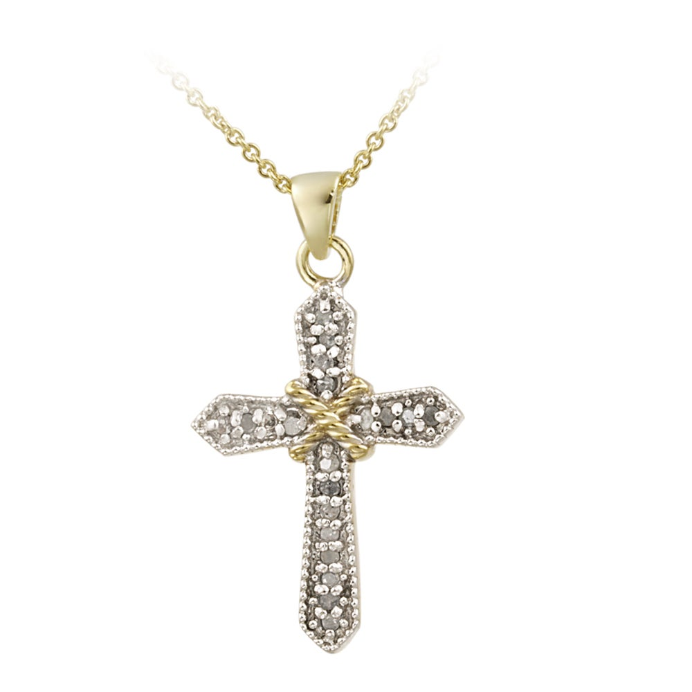 DB Designs 18k Yellow Gold over Silver 1/5ct TDW Diamond Cross Necklace (J, I3)