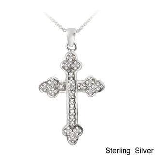DB Designs Sterling Silver 1/8ct TDW Diamond Vintage Cross Necklace (J, I3)