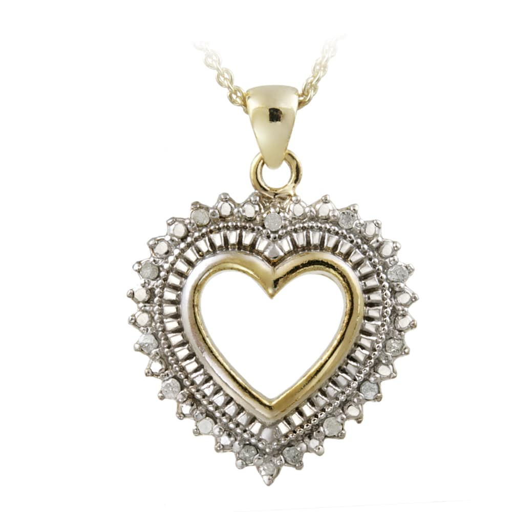DB Designs 18k Yellow Gold over Silver 1/8ct TDW Diamond Heart Necklace (J, I3)