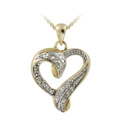 DB Designs 18k Gold over Silver 1/8ct TDW Diamond Heart Necklace (J, I3)