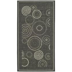"Poolside Black/Sand Indoor/Outdoor Polypropylene Rug (2' x 3'7"")"