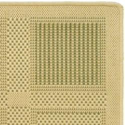 Poolside Natural/Olive Indoor/Outdoor Square-Patterned Rug (2' x 3'7