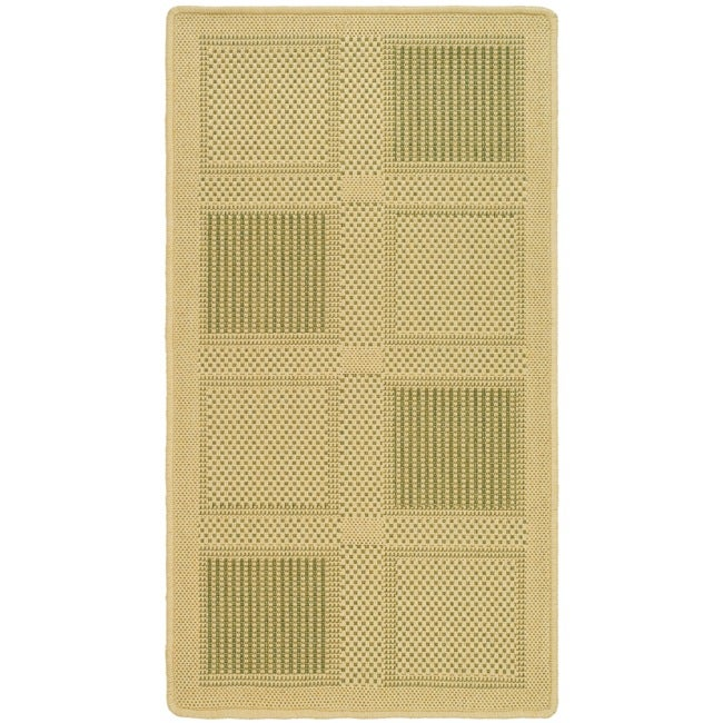 "Safavieh Poolside Natural/Olive Indoor/Outdoor Square-Patterned Rug (2' x 3'7"")"