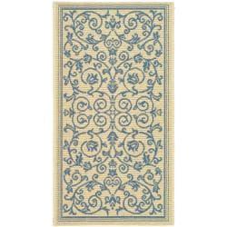 "Safavieh Poolside Natural/Blue Indoor/Outdoor Border Pattern Rug (2' x 3'7"")"