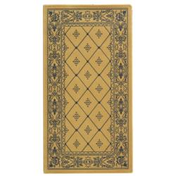 "Safavieh Poolside Natural/Blue Border-Geometric-Patterned Indoor/Outdoor Rug (2' x 3'7"")"