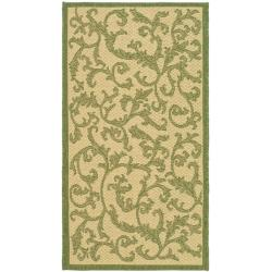 """Safavieh Poolside Natural/Olive Contemporary Indoor/Outdoor Rug (2' x 3'7"""")"""