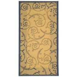Poolside Natural/Blue Contemporary Indoor/Outdoor Rug (2' x 3'7