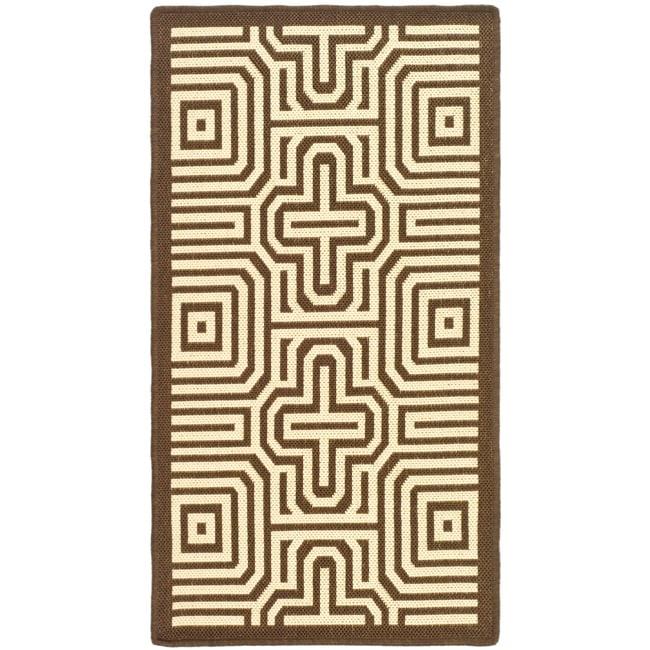 Safavieh Poolside Chocolate/ Natural Indoor Outdoor Rug (2' x 3'7)