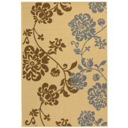 Poolside Natural/Brown Floral Indoor/Outdoor Rug (5'3
