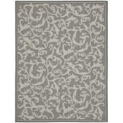 Safavieh Anthracite/ Light Grey Indoor Outdoor Rug (6'7 x 9'6)