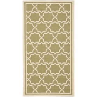 Safavieh Poolside Green/Beige Polypropylene Indoor/Outdoor Rug (4' x 5'7