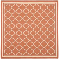 Poolside Terracotta/ Bone Indoor/ Outdoor Polypropylene Rug (6'7 Square)