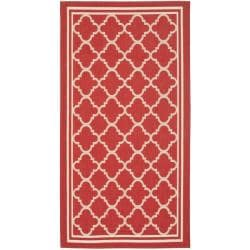 Indoor/ Outdoor Poolside Red/ Bone Accent Rug (2' x 3'7)