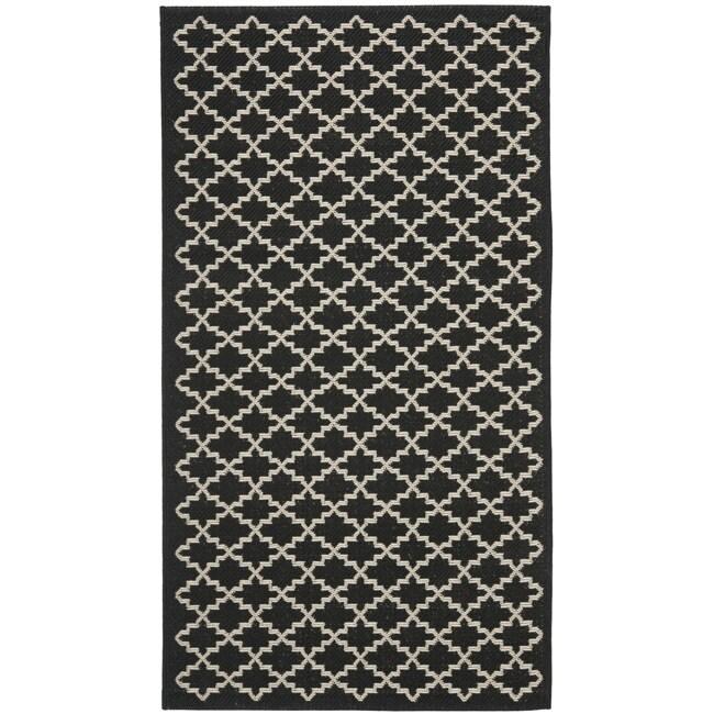 Safavieh Poolside Black/ Beige Indoor Outdoor Rug (2' x 3'7)