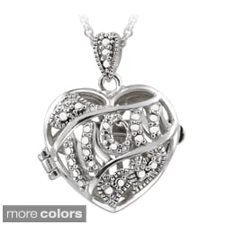 DB Designs Gold over Silver/ Sterling Silver Diamond Accent Heart 'Mom' Locket Necklace