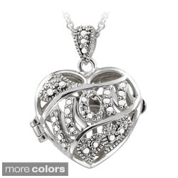 DB Designs Gold over Silver/ Sterling Silver Diamond Heart 'Mom' Locket Necklace