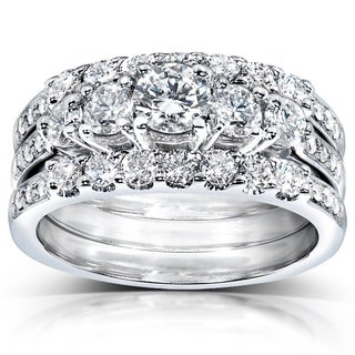 Annello 14k White Gold 1 1/3ct TDW Diamond 3-piece Bridal Ring Set (H-I, I1-I2) with Bonus Item