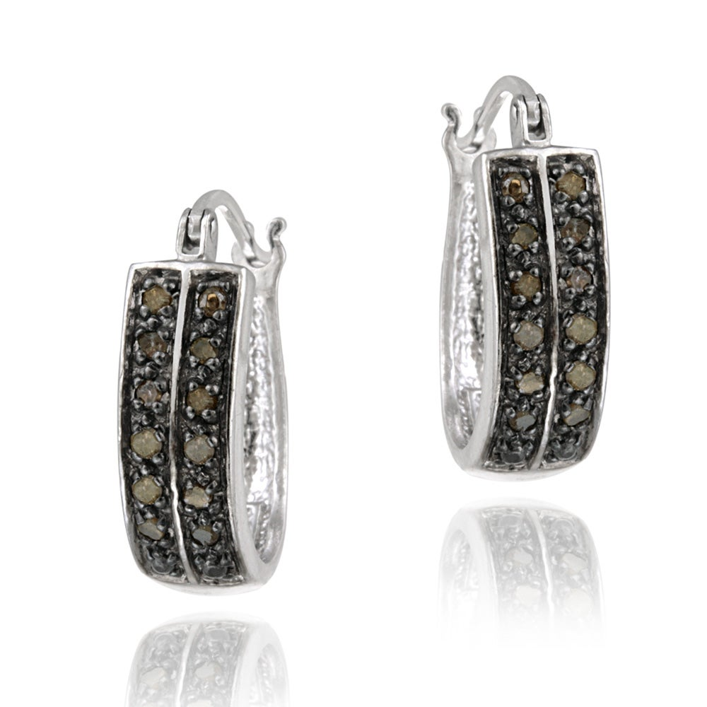 DB Designs Sterling Silver 1/4ct TDW Brown Diamond 2-row Hoop Earrings