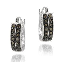 DB Designs Sterling Silver 1/4ct TDW Brown Diamond 2-row Hoop Earrings