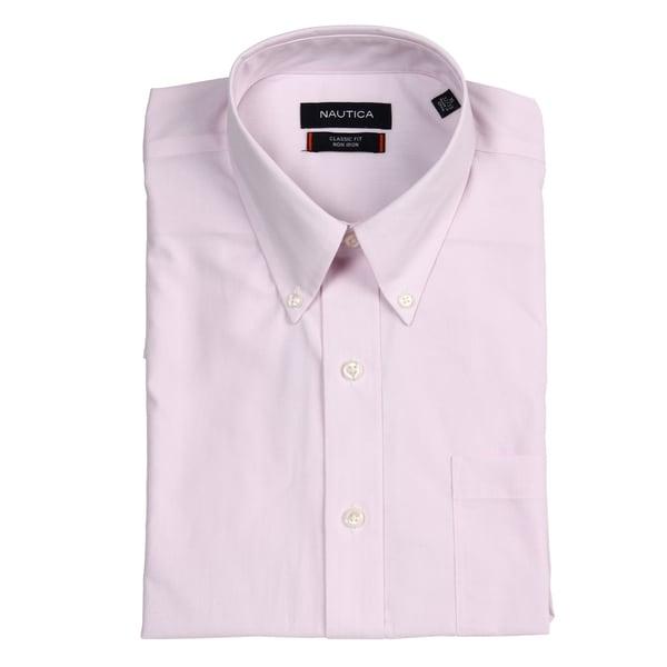 Nautica Men's Classic Fit Pink Pinstripe Non-iron Shirt
