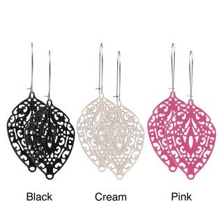 Journee Collection Silvertone Handmade Lace-style Leaf Earrings