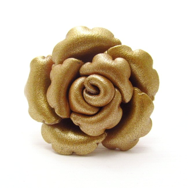 Gold Petals Genuine Leather Blooming Rose Free Size Ring (Thailand)
