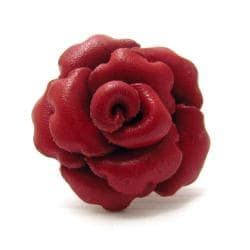 Red Petals Genuine Leather Blooming Rose Free Size Ring (Thailand)