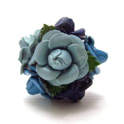 Blue Floral Bouquet Genuine Leather Free Rize Ring (Thailand)