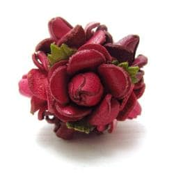 Red Floral Bouquet Genuine Leather Free Rize Ring (Thailand)