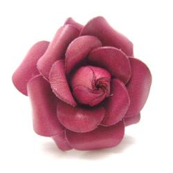 Blooming Dark Pink Rose Genuine Leather Free Size Ring (Thailand)