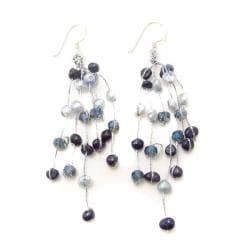 Striking Waterfall Freshwater Dyed Blue Pearl .925 Silver Hooks Earrings (Thailand)