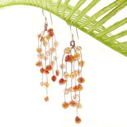 Striking Waterfall Freshwater Dyed Orange Pearl .925 Silver Hooks Earrings (Thailand)