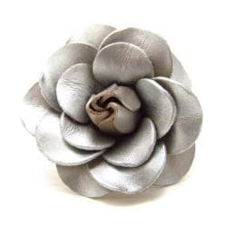 Blooming Silver Rose Genuine Leather Free Size Ring (Thailand)