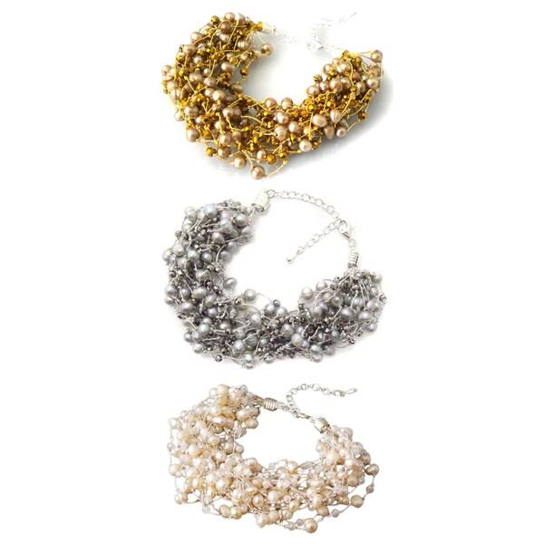 Golden/ Silver/ White Enchantment Freshwater Pearl Multi Strands Bracelet (Thailand)