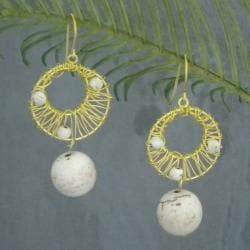 White Mystery Brass Wire Works White Howlite Ball Dangle Earrings (Thailand)