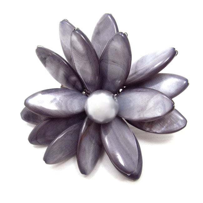 Grey Water Lily Mother of Pearl Floral Pin-Brooch (Thailand)