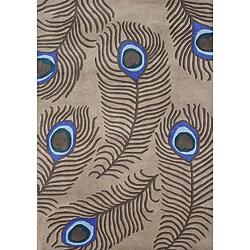 Alliyah Handmade Peacock Tannin New Zealand Blend Wool Rug (8' x 10')