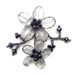Black Luster Crystal Blooming Floral Love Pin-Brooch (Thailand)