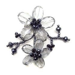 Black Luster Crystal Blooming Floral Love Pin-Brooch (Thailand)