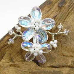 Clear Luster Crystal Blooming Floral Love Pin-Brooch (Thailand)