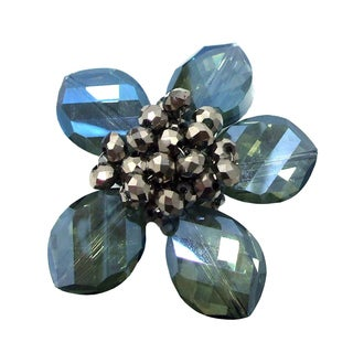 Enchanted Blue Floral Glass Prism-Crystal Center Pin-Brooch (Thailand)