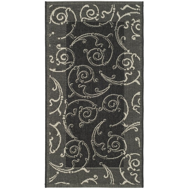 Safavieh Poolside Black/ Sand Indoor/ Outdoor Accent Rug (2' x 3'7)