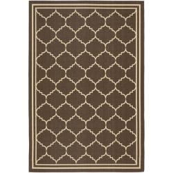 Poolside Chocolate/ Cream Indoor Outdoor Rug (6'7 x 9'6)