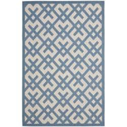 Safavieh Poolside Beige/ Blue Indoor Outdoor Rug (4' x 5'7)