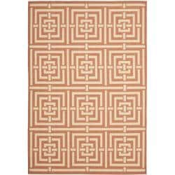 Poolside Terracotta/Cream Indoor-Outdoor Geometric Rug (5'3 x 7'7)