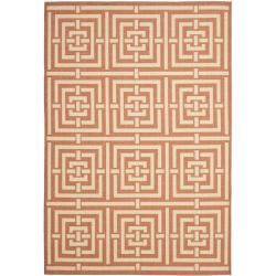 Poolside Terracotta/ Cream Indoor Outdoor Rug (6'7 x 9'6)