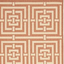 Safavieh Poolside Terracotta/ Cream Geometric-patterned Indoor/ Outdoor Rug (8' x 11'2)
