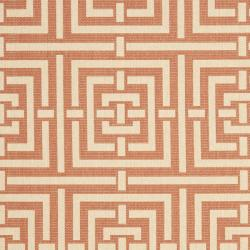 Poolside Terracotta/ Cream Geometric-patterned Indoor/ Outdoor Rug (8' x 11'2)